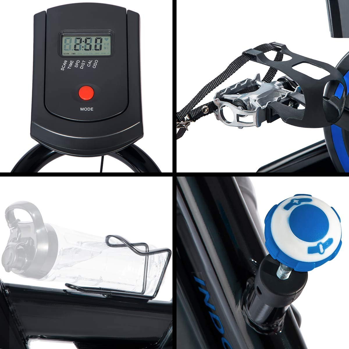 Merax Deluxe Indoor Cycling Bike Cycle Trainer Exercise Bicycle (Black with Blue) by Merax (Image #6)