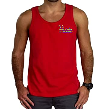 6462d144c Amazon.com: Men's Rainbow Foil LGBT Gay Pride Red Tank Top Red: Clothing