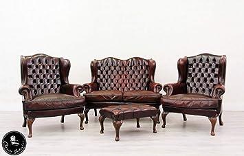 Classic Interior Chesterfield Sofa Sessel Leder Antik