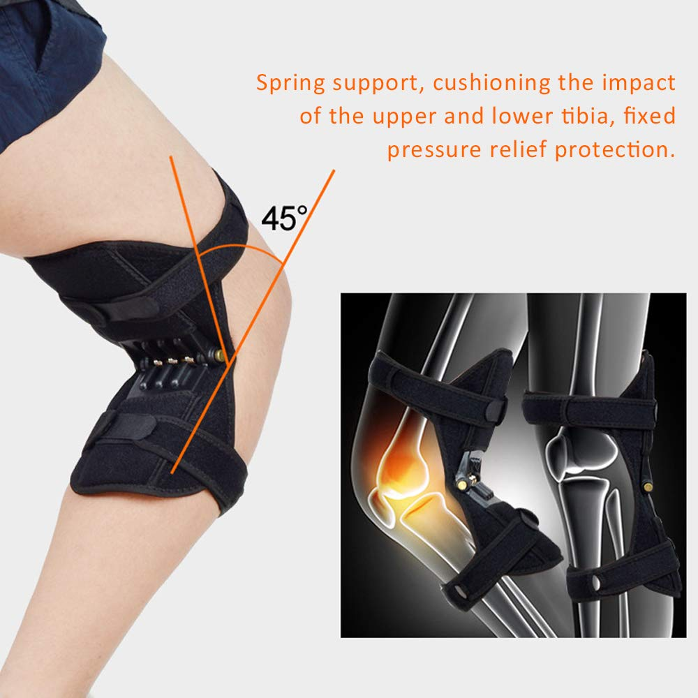 Fitness Knee Booster with 3 Springs Climbing Rebound Boost for Knee Injury Motion Deep Erect Pressure Relief Protection Brace Carrying Heavy Objects 1 Pair