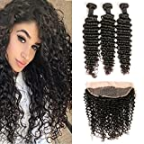 Deep Wave Lace Frontal Closure Free Part 13×4 with Baby Hair and Brazilian Hair 3 Bundles Virgin Weave Extensions Weft (16 18 20+14f) For Sale