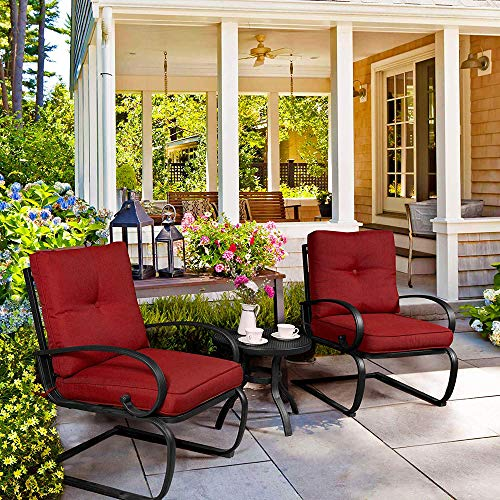 (3 Piece Outdoor Bistro Set Patio Spring Action Chair Lounge Seat Conversation Set with Round Table and Cushions)