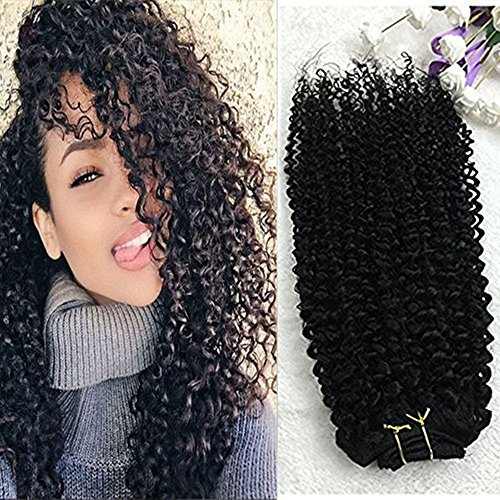 "Full Shine 16"" 7 Pcs 100g Curly Hair Clip Ins For African Ha"