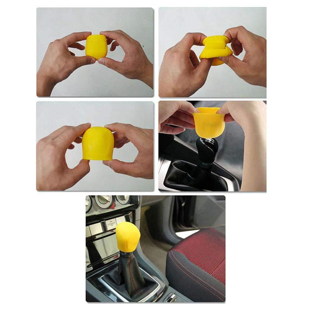 Niome 2Pcs Universal Manual Durable Car Silicone Gear Head Shift Knob Cover Shift Collars Handbrake Brake Case Blue