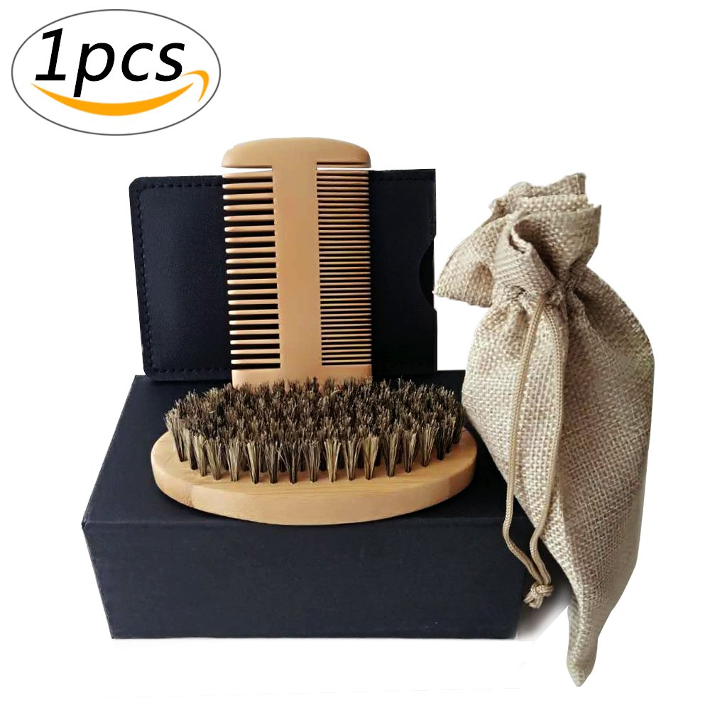 Beard Brush Kit/Beard Comb Men Grooming and Trimming Beard Care Kit Gift Set, Handmade sandwood Comb and Gentle Bristle Comb that Can be Used with Beard Oil & Beard Wax for Beard & Mustache Shaping (Blown) Yakuro
