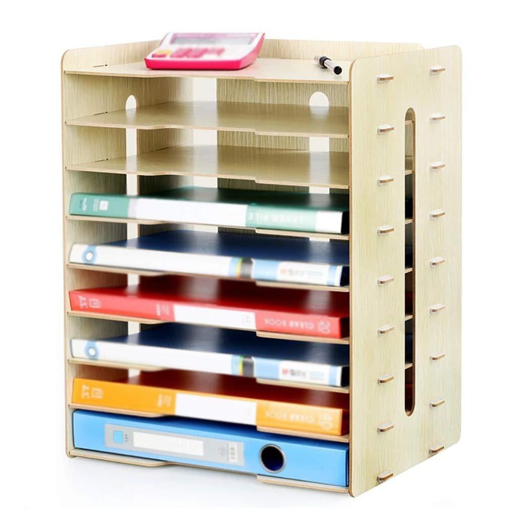 DESTDOU Wooden Multi-layer Office Bookcase Desktop 9 Layer File Holder color : Beige 42.5cm Desktop Expanding File Organiser 25.5 A3 Paper Storage Box Information Box A4 Printer Frame34.2