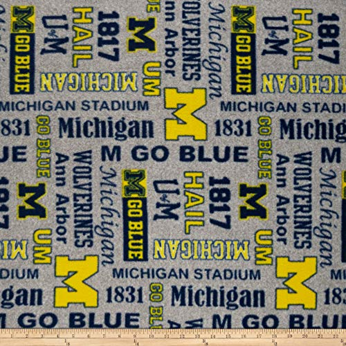 Sykel Enterprises NCAA Fleece Michigan Heather Verbiage Fabric, Team Color, Fabric By The ()