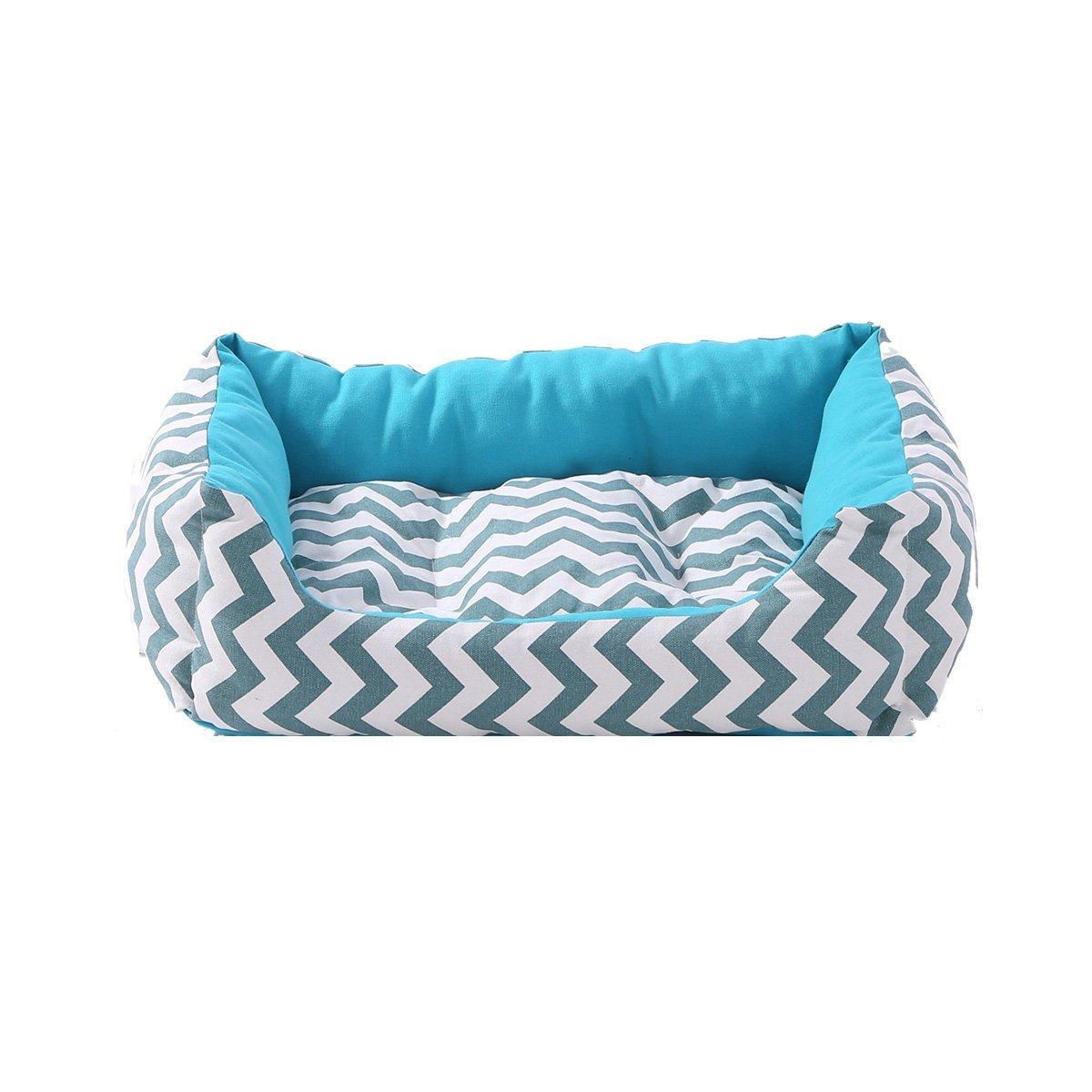 Medium SewForever bluee Wave Pet Cuddle Cushion Dog Sleeping Bed Cat Sleeping Bed with Removable Pad, Medium