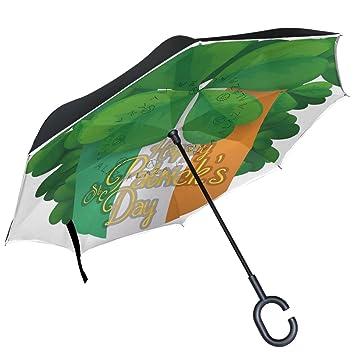 ALAZA bandera de trébol irlandés Shamrock paraguas invertido doble capa resistente al viento Reverse paraguas