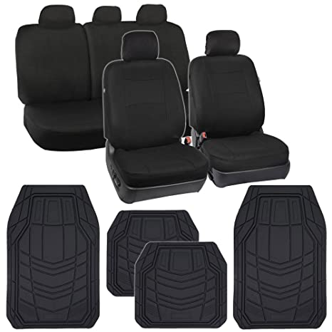 Peachy Black Seat Covers For Car Auto Suv Cloth 60 40 Split Bench W Rubber Floor Mats Dailytribune Chair Design For Home Dailytribuneorg