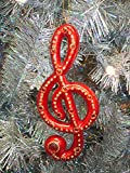 Paul Minor Red & Gold Jeweled Treble Clef Music Note Christmas Ornament #57756-BW