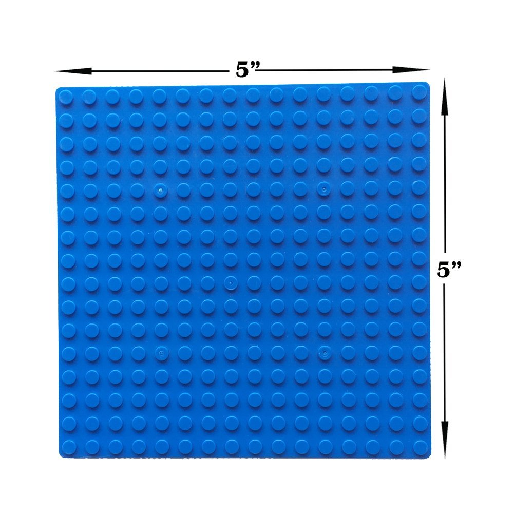 Blue 10 Pack of 5 x 5 Baseplates Tight Fit with All Major Brands Taken All Building Bricks Block Base Plates