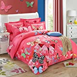 Fly In Dance Butterfly Bedding Duvet Cover Set Cotton Full 4-Piece
