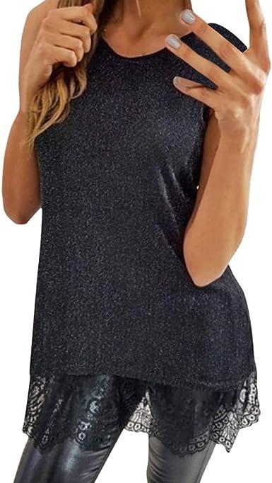 OPAKY Mujeres de Encaje con Cuello en O Sin Mangas del Chaleco Camisola Casual Camiseta Blusa Mujeres Camiseta de Tirantes Gótica Sin Mangas diseño de Calaveras Tanque Superior Tank Tops Encaje: Amazon.es: