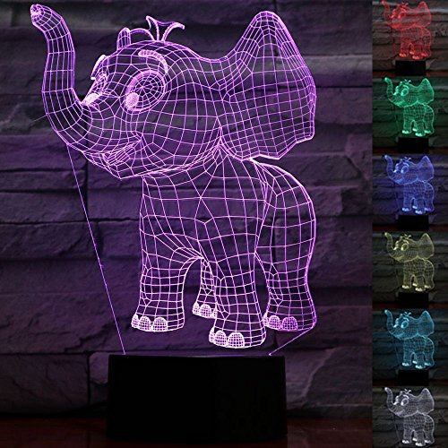 Elephant 3D Lamp Night Light Beside Table Lamp 7 Color Changing Touch Switch Decoration Lamps Mother's Day Gift with Acrylic Flat & ABS Base & USB Cable Elephant Lover Toy (Elephant Base)