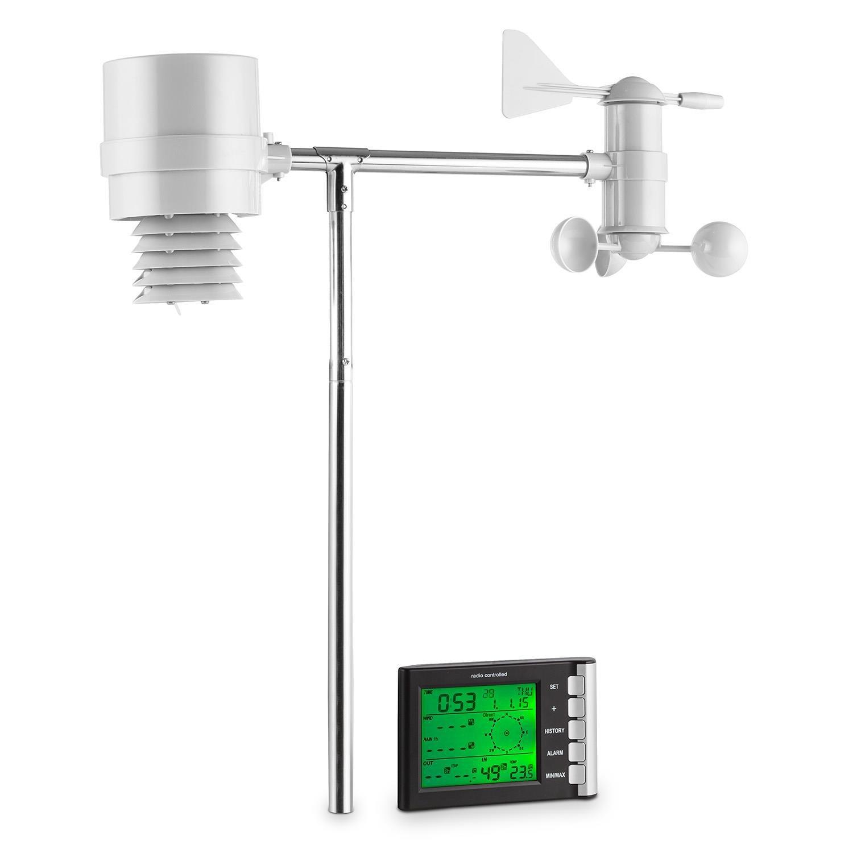 oneConcept Montgolfier stazione meteorologica con antenna a sensori esterna (4 sensori, termo-igrometro, pluviometro, anemometro, trasmissione dati via radio, schermo LCD, salvataggio automatico dati)