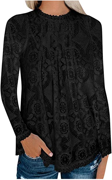 Women Tee Shirt Lace Hem Long Sleeves T Shirt Solid O-Neck Pullover Blouses Easy Tops