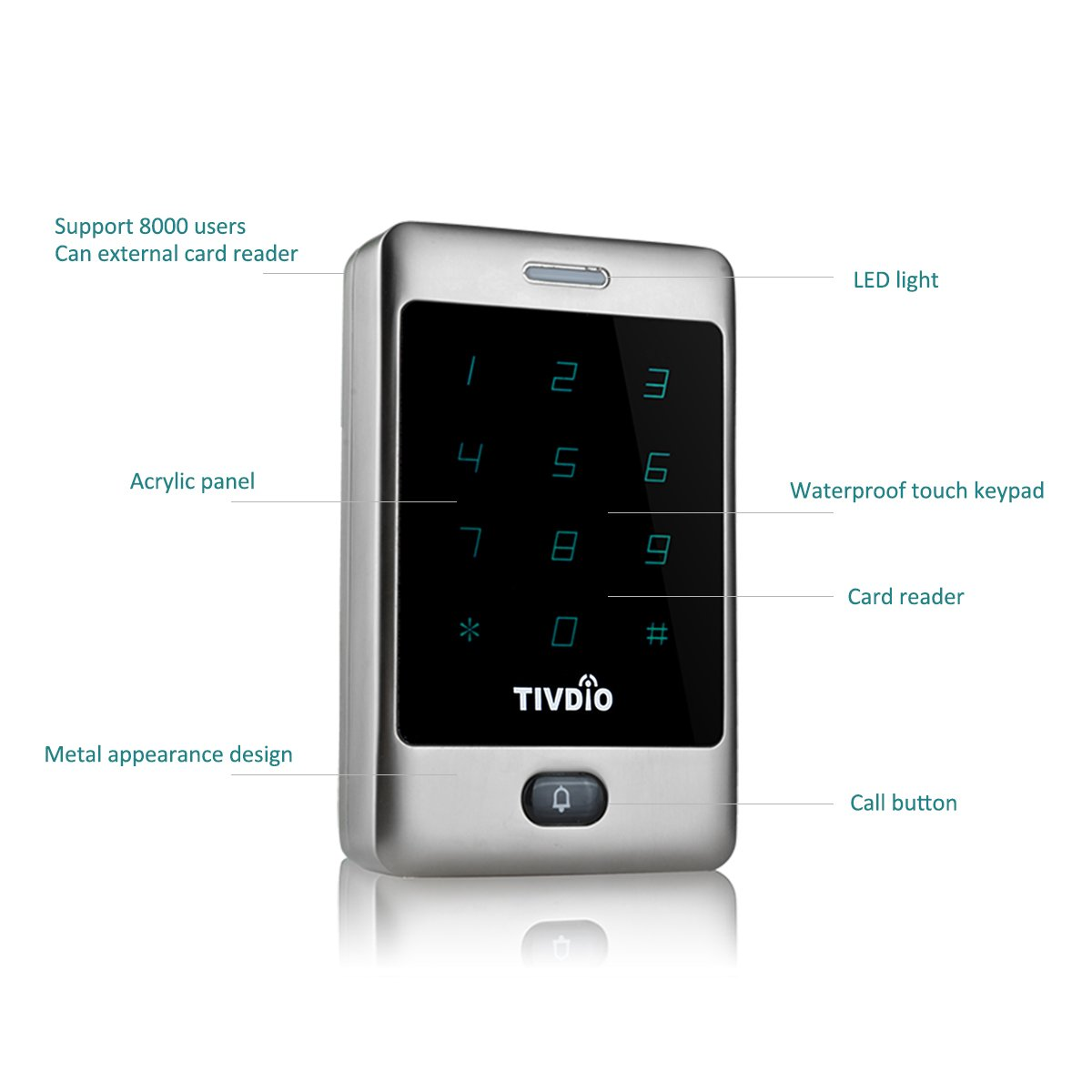 Tivdio T Ac800 Access Control System Door Keypad Locks Electronically Designed Touch Lock Outdoor 125khz Back Light Id Support