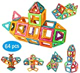 LUBA SAN Magnetic Blocks Building Set Magnetic Tiles Early Learning Educational Building Construction Toys with Storage Bag for Boys Girls-64pcs