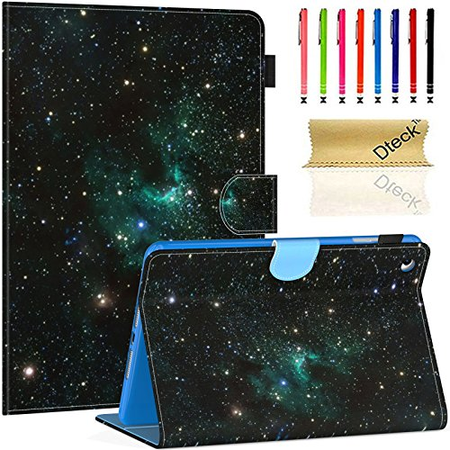 Dteck iPad Mini 1/2/3/4 Case - Slim Fit PU Leather Folio Stand [Stylus Slot] Wallet Case with Auto Wake/Sleep Smart Magnetic Cover for Apple iPad Mini 4/ Mini 3/ Mini 2/ Mini 1, Galaxy Sparks