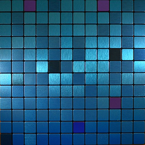 FLEXIPIXTILE, Modern Aluminum Mosaic Tile, Peel & Stick, Backsplash, Accent Wall, 1 sq.ft,AQUARIUS