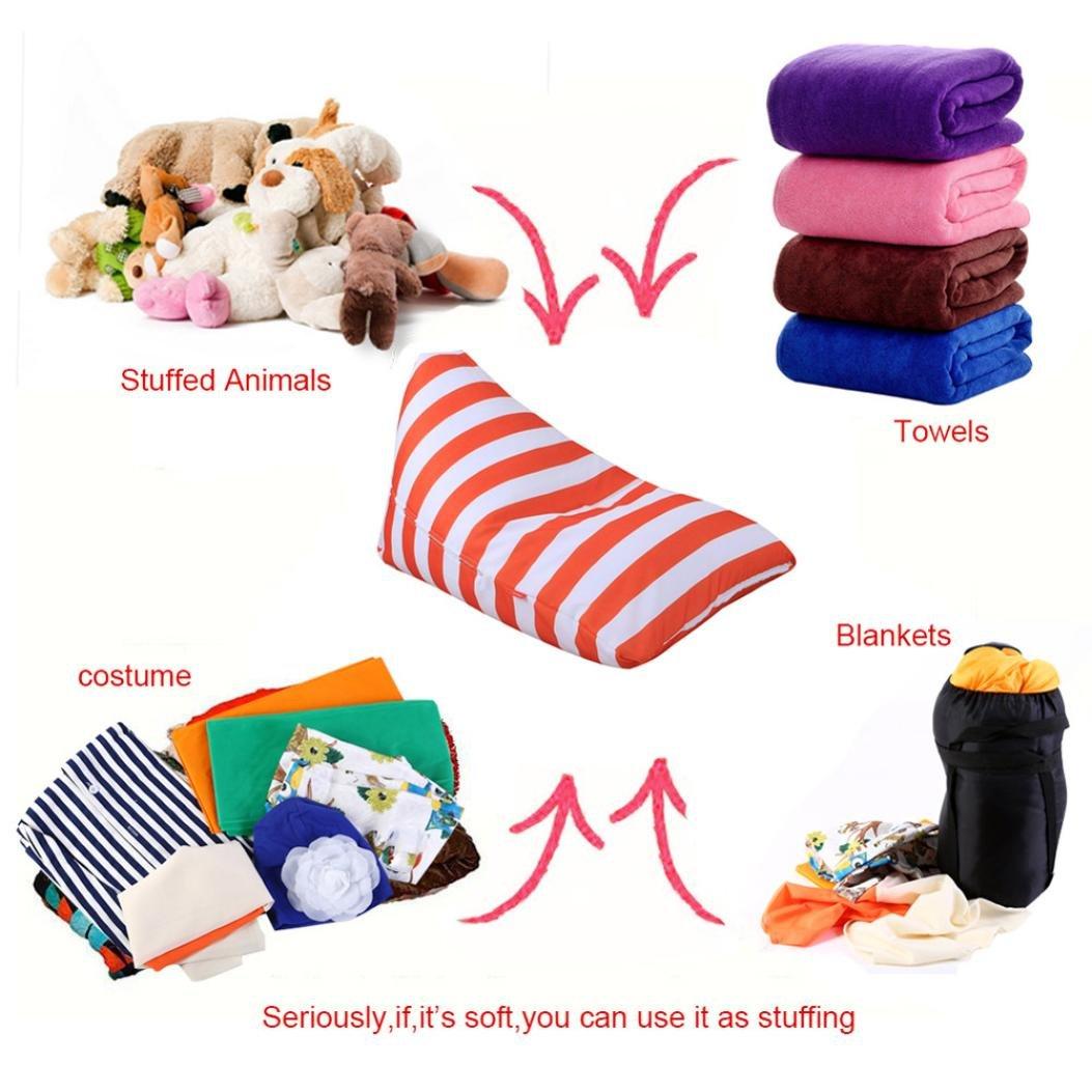 Home Storage Bag,KingWo Kids Stuffed Animal Plush Toy Storage Bean Bag Soft Pouch Stripe Fabric Chair (C)