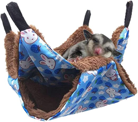 Petmolico Small Pet Hanging Triple-Layer Warm Hammock Bed Cage Accessories Bedding Hideout Playing Sleeping for Parrot Sugar Glider Ferret Squirrel Hamster Rat