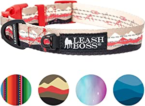 Leashboss Patterned Reflective Dog Collar, Pattern Collection, Colorful Dog Collar with Triple Reflection Threads for Small, Medium and Large Dogs