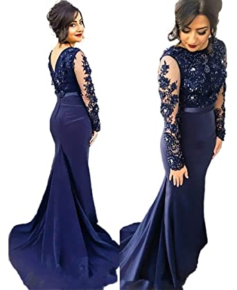 HONGFUYU Womens Prom Dresses Long Mermaid Long Sleeve Sexy Party Evening Dresses RoyalBlue-UK16
