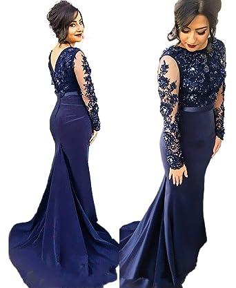 HONGFUYU Womens Prom Dresses Long Mermaid Long Sleeve Sexy Party Evening Dresses RoyalBlue-UK16