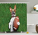 Ambesonne Sports Decor Collection, Soccer Dog Holding a Rugby Ball and Laughing Out Loud Funny Comic Joke Image Print, Polyester Fabric Bathroom Shower Curtain Set with Hooks, Green Peru White