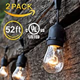 Amico 52FT 2 Pack Outdoor String Lights, Commercial Grade Weatherproof Yard Lights, 11W 18 Hanging Sockets (3 Extra Bulbs Free) Dimmable Incandescent Bulbs, UL Listed Patio Lights Bistro Market