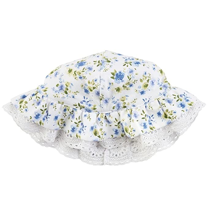 414a6088254 Amazon.com  Mud Pie Baby Girl s Floral Eyelet Sun Hat (Infant) Blue ...