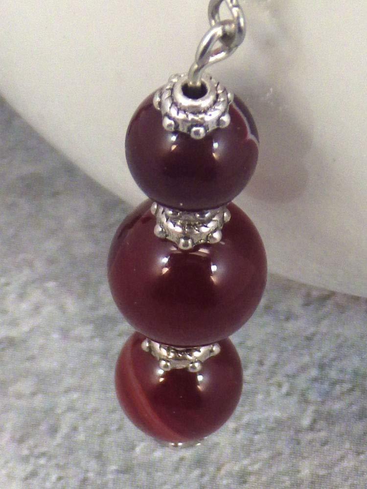 Pendientes con finas cuentas de /ágata con rayas naturales rojas y blancas copas de plata y gancho de acero inoxidable