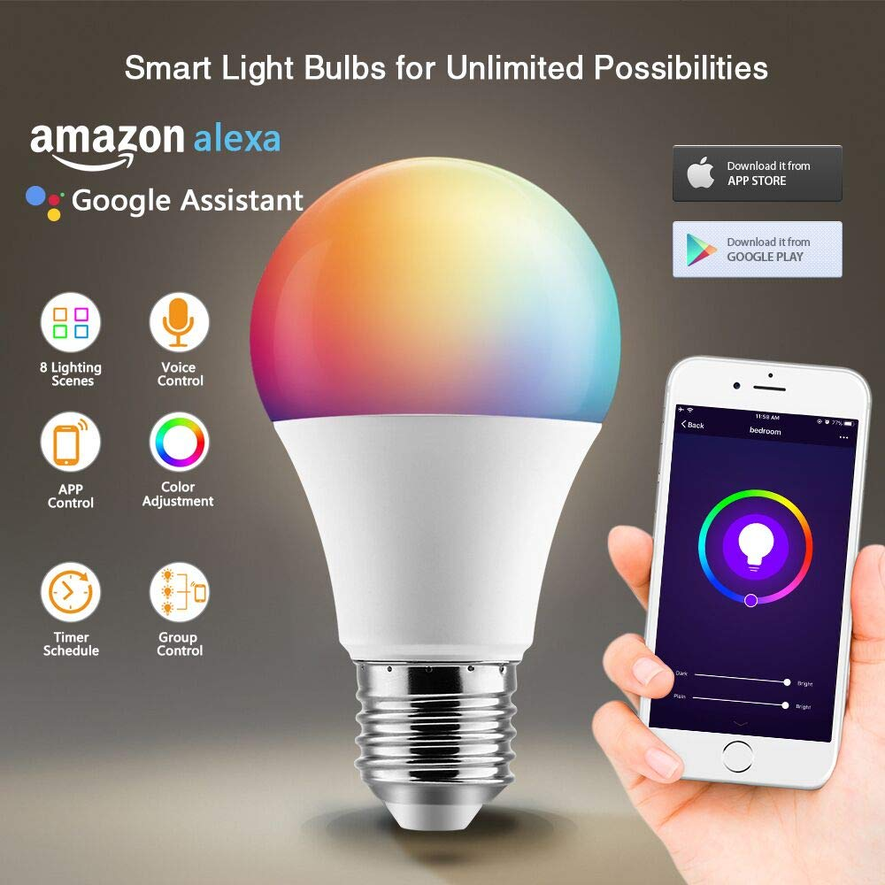 BrizLabs Smart Light Bulbs, 2 Pack 9W WiFi Bulbs No Hub Required, Warm White & Multicolor Dimmable LED Bulb, A19 60W eq, E26, 806LM, Compatible with Alexa & Google Assistant