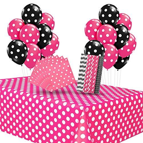 Minnie Mouse Party Supplies Hot Pink Polka Dot Tablecloth Napkins Straws Balloons for Girls Minnie Mouse Birthday Baby Shower Supplies