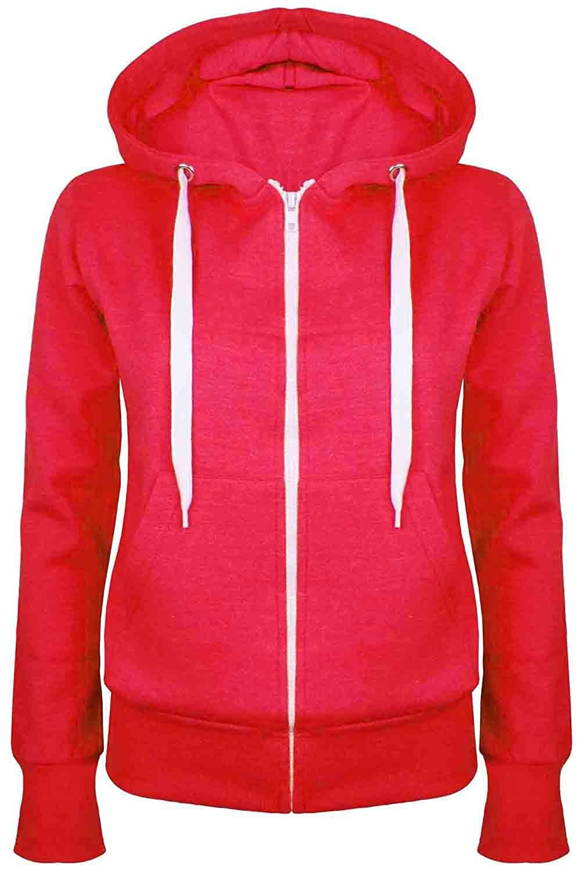 ec1bd5442c1 Be Jealous Womens Plain Hooded Sweatshirts Girls Zip Top Ladies Hoodies  Coat Jacket Hoody Plus Size 6-24  Amazon.co.uk  Clothing