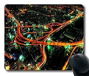"""Mouse Pads / Mouse Mats (0126061)Car's Light Traces in Night City Personalized Custom Mouse Pad Oblong Shaped in 220mm*180mm*3mm (9""""*7"""")"""
