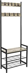 Ballucci Vintage Coat Stand, Shoe Rack Bench with 9 Metal Hooks, Entryway Hall Tree Storage Shelf Organizer, Sturdy Iron Frame, Easy Assembly, Rustic Grey