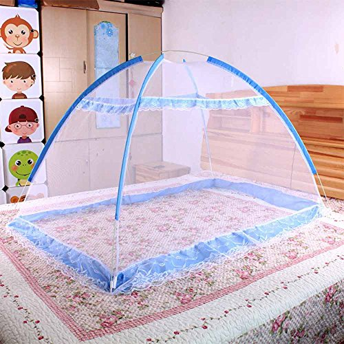 [Rainbowkids Baby Nursery Mosquito Net Baby Toddler Bed Crib Canopy Netting Dome Hanging Mosquito Soft Breathable Crib Netting (Blue)] (Zurich California King Bed)