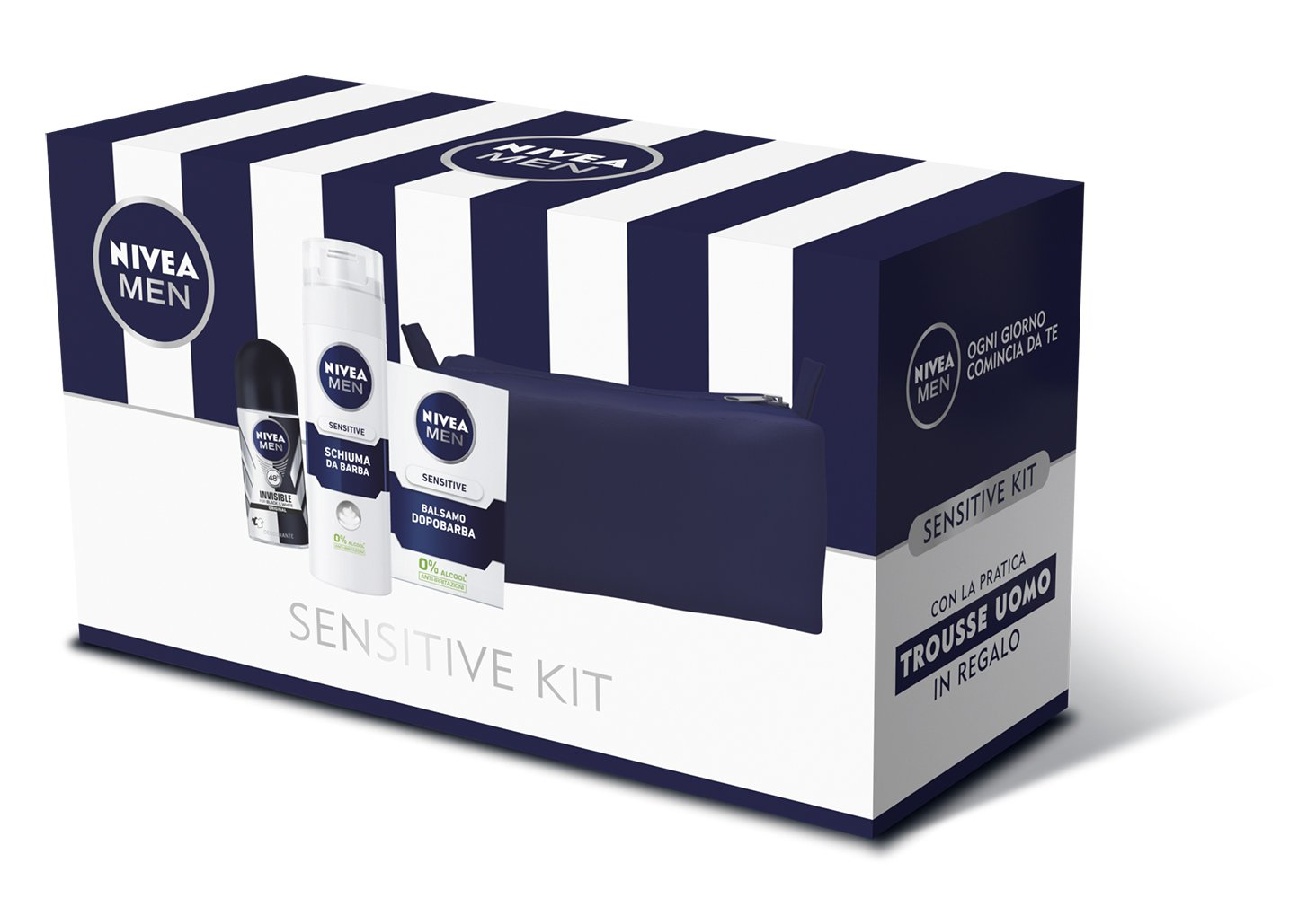 Nivea Men Sensitive Kit Set Regalo da Uomo, Balsamo Dopobarba, Schiuma da Barba e Invisible Black & White Roll-on Deodorante Beiersdorf 41920