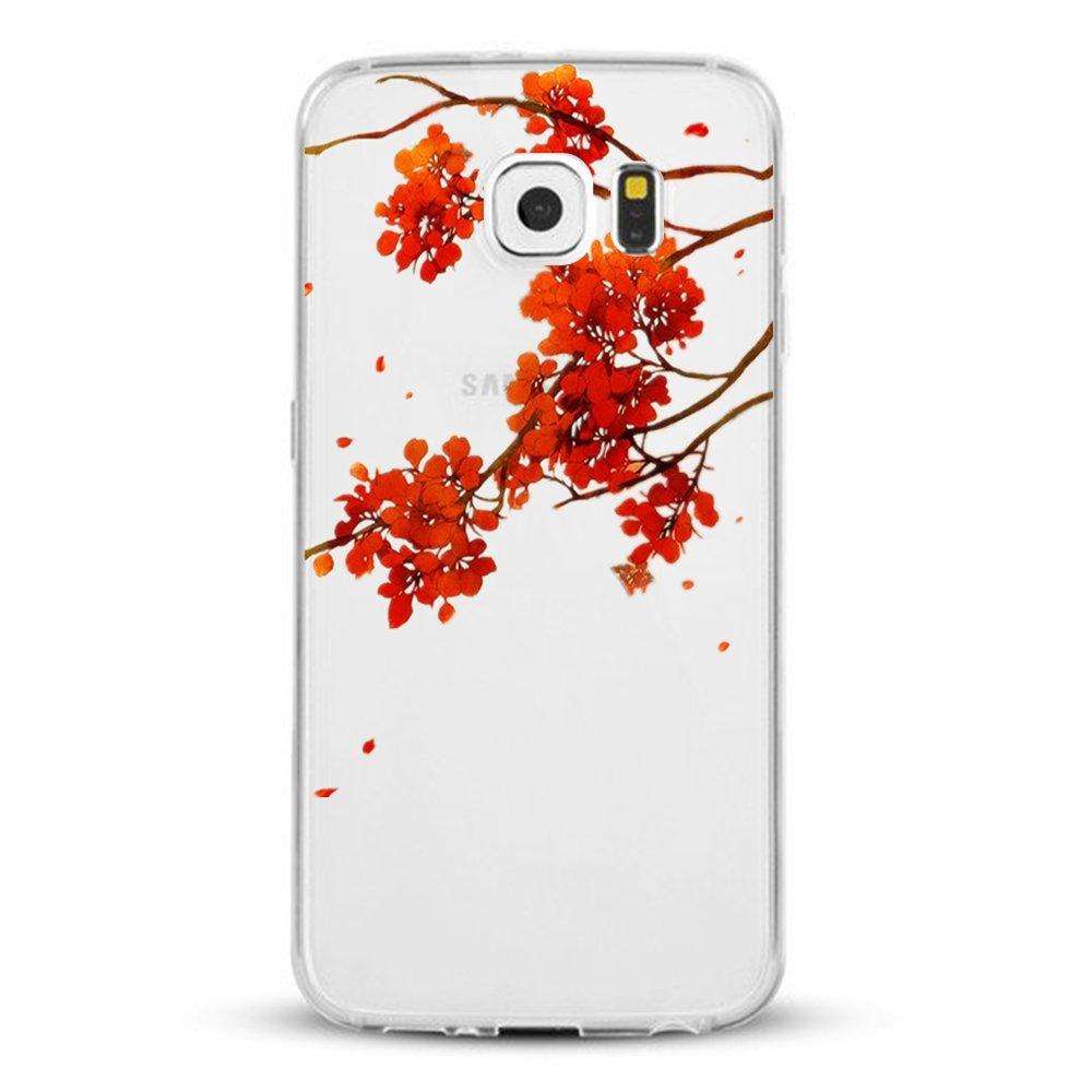 AIsoar® Samsung Galaxy S6 Edge Case,Samsung Galaxy S6 Edge Cover,Flexible Slim Design Silicon Clear Bumper Heat resistant Anti-deformation Wolf head Series TPU Protective Case Samsung S6 Edge (Flower)