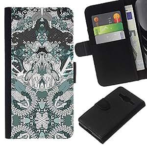 KingStore / Leather Etui en cuir / Samsung Galaxy Core Prime / Arte Dibujo Patrón Espiritual;