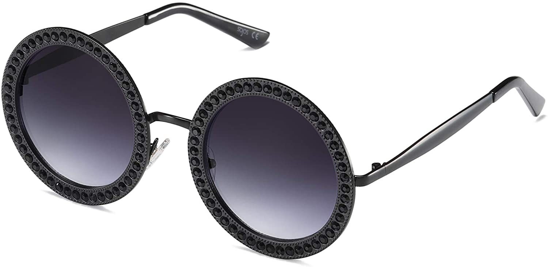Amazon Com Sojos Shining Oversized Round Rhinestone Sunglasses Festival Gem Sunnies Sj1095 With Black Frame Gradient Grey Lens With Black Diamonds Clothing