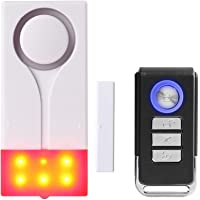 Mengshen Door and Window Alarm - Wireless Burglar Alarm with 105db Loud Sound and Bright Light, Easy to Install…