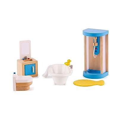 Hape Wooden Doll House Furniture Family Bathroom Set: Toys & Games