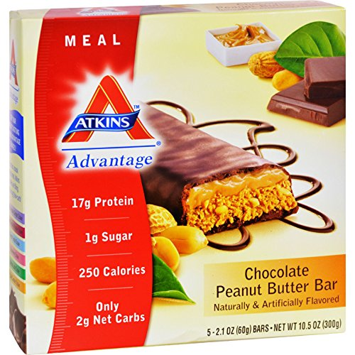 Atkins Advantage Bar Chocolate Peanut Butter - 5 Bars - Gluten Free - Wheat Free - 17g Protein