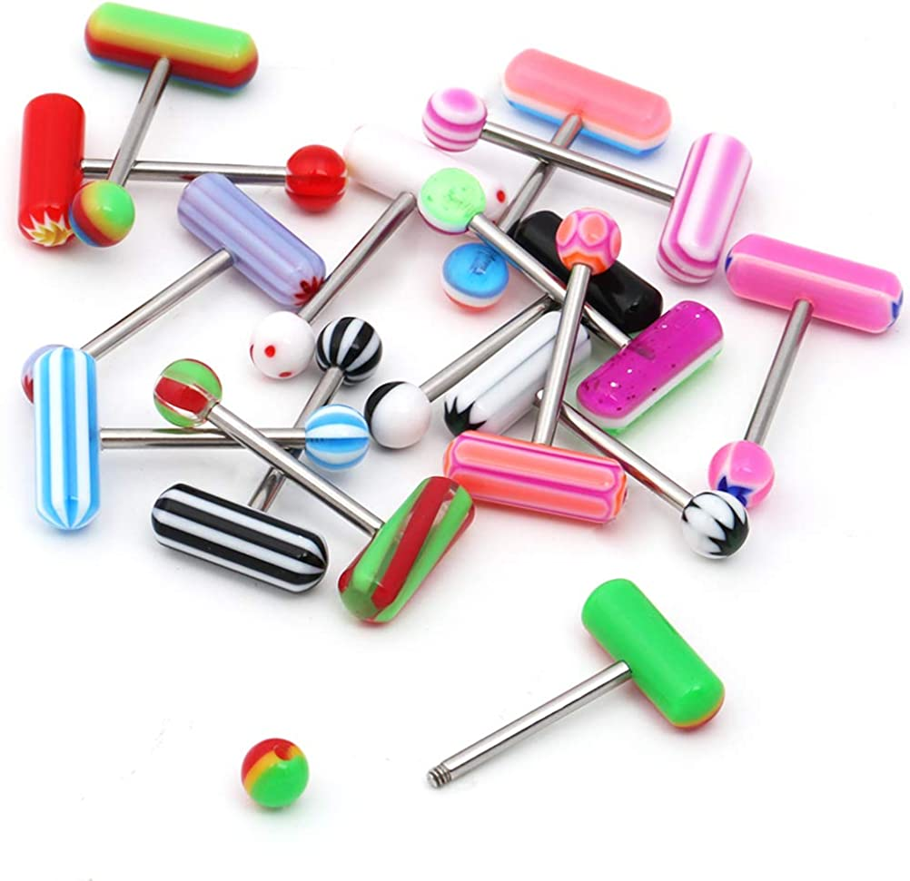 CrazyPiercing 15 Pcs 14G Tongue Rings Barbells, Stainless Steel Tongue Piercing Jewelry, Acrylic Assorted Colors Balls Tongue Rings