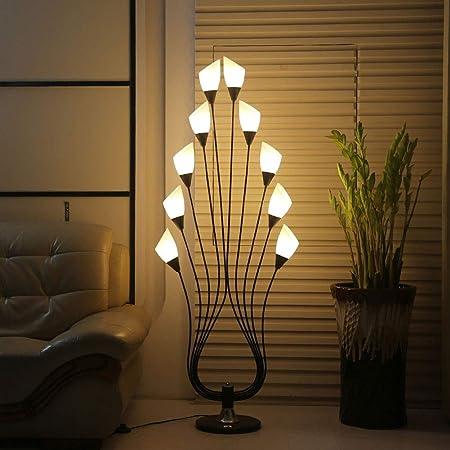 MYALQ Decoración lámpara de pie Moderna Interior 5W Blanca Cálida 10 Luces Acrílico Decoración lampara pie LED para Salon Dormitorio Sala Pasillo Escalera,Negro: Amazon.es: Hogar