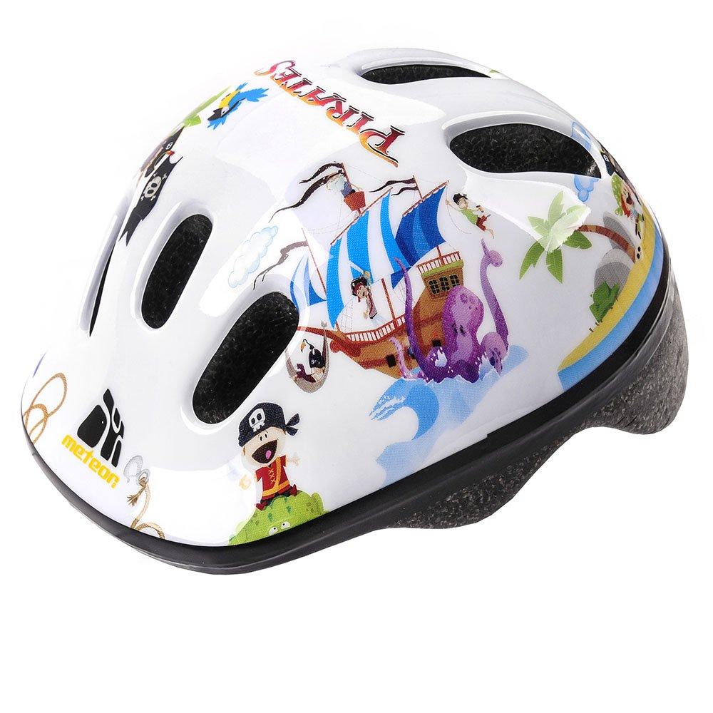 Casco de seguridad pequeño de bicicleta, para niños, color pirata, tamaño 44-48 cm